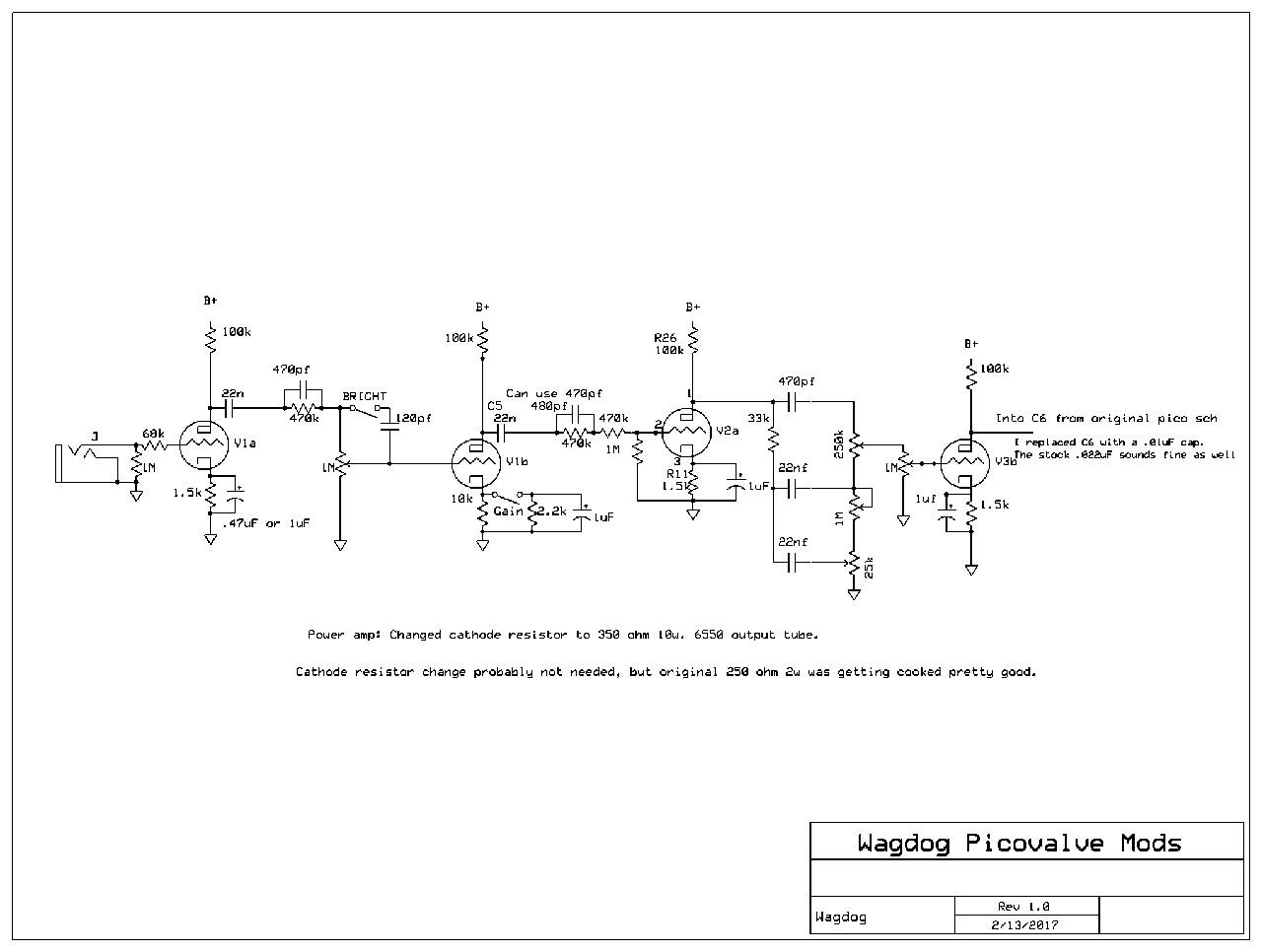 Picovalve Mods Filter Cap Schematic Preamp